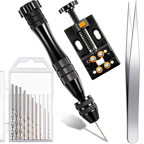 Pin Vise for Resin Casting Molds, 13 Pieces Pin Vise Hand Drill Bits Set, Aluminium Alloy Hand Drill, Drill Bits, Bench Vice, Tweezer, Precision Hand Drill Tools for Wood Jewelry Plastic Keychain
