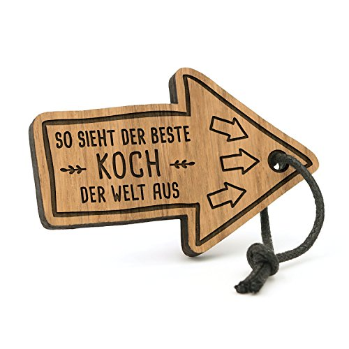 Fashionalarm Schlüsselanhänger So Sieht der Beste Koch der Welt aus | Pfeil aus Holz mit Gravur | Geschenk Idee Küchen Chef Koch Hobby Beruf Job