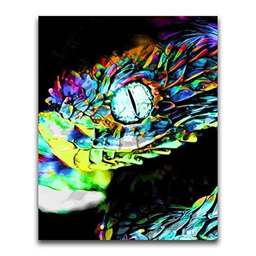 DIY Pintura por Números Kit Pintura al óleo Adultos y niño Principiante sin marco o lienzo resumen Arte Pintado sala a mano Decoración del hogar de estar Serpiente colorida-30x40cm