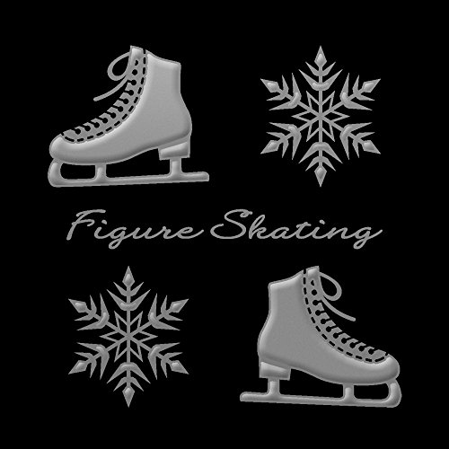 蒔絵シール フィギュアスケート 「スケート靴と結晶 銀」
