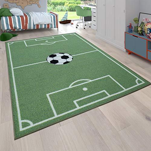 Alfombra Infantil Juego para Dormitorio Niños Diseño Campo De Fútbol En Verde, tamaño:120x160 cm