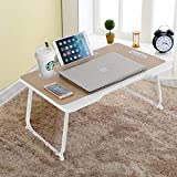 VLikeze Foldable Laptop Desk, Portable Laptop Bed Table Tray for Bed, Lap Stand Notebook Holder with Handle and Cup Holder, Breakfast Serving Tray Dorm Desk for for Bed Sofa Couch (Yellow)