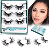 GOO GOO Mink Eyelashes, 18mm Natural Crossed Cluster Daily Type False Eyelashes 1 Style 3 Pairs/set Siberian 3D Mink Lashes Hand Made Strips Fake Eyelashes Fluffy Real Eyelashes