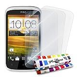 3 Protecciones de Pantalla transparentes para HTC DESIRE C 'UltraClear' Originales de MUZZANO de Calidad PREMIUM - Tratamiento Anti-rayado, Anti-rastro y Anti-polvo + De regalo 1 ESTILETE + 1 PAÑO MUZZANO
