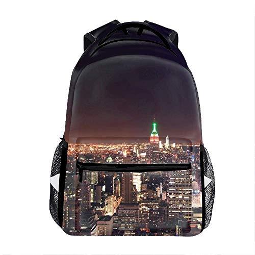 Laptop Backpacks New York City Nightscape Girls Women Travel Multi-Pockets Daypack Bag