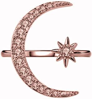 Wogo Women's Rings Creative Xingyue Design Ring Hollow Zircon Ms. Ring Jewelry