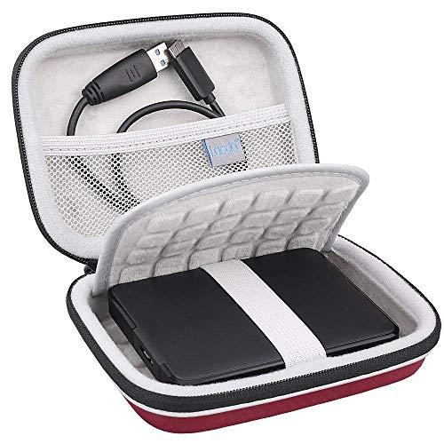 Lacdo Custodia Hard Disk Esterno per Seagate Expansion/Seagate Backup Plus Slim/Game Drive for PS4, WD Elements, Canvio Basics 1TB 2TB 3TB 4TB 5TB, 2,5 Pollici Custodia Portatile Antiurto, Rosso