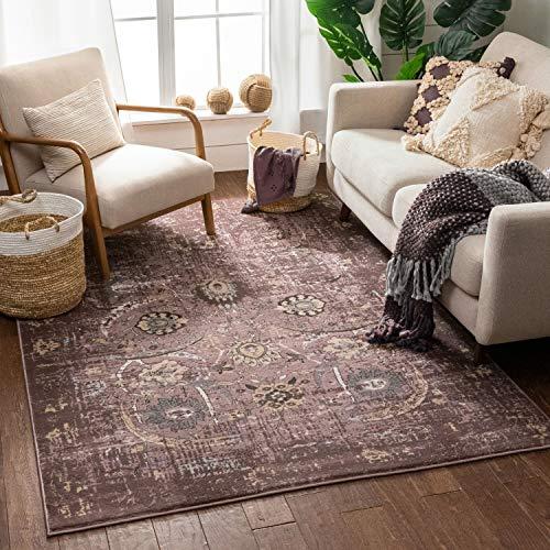 "Well Woven Elle Lavender Persian Vintage Shiraz 8x11 (7'10'' x 10'6"") Area Rug Purple Modern Distressed Oriental Carpet"