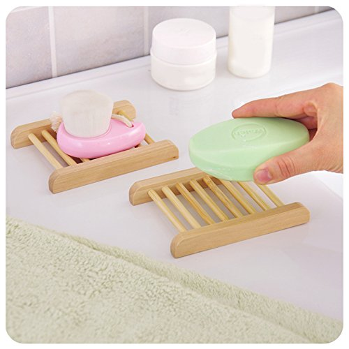 Wall Mounted Type Wooden Bath Soap Storage Box Soap Bar Holder Kitchen Tools Sponge Drain Shelf Bag(2PC)