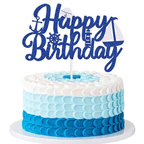 Nautical Happy Birthday Cake Topper - Ahoy Boy Nautical Ocean Sailing Theme Birthday Baby Shower Party Decorations