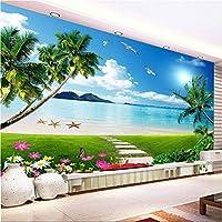 カスタム任意のサイズの3Dステレオ壁画壁紙美しい海辺の風景ビーチサンシャイン壁紙リビングルームソファ背景壁画-350X250CM