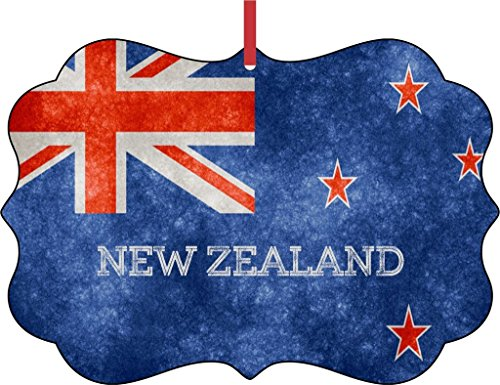 Rosie Parker Inc. New Zealand Grunge Flag-Double-Sided Benelux Shaped Flat Aluminum Christmas Holiday Hanging Tree Ornament with a Red Satin Ribbon. Made in The USA!