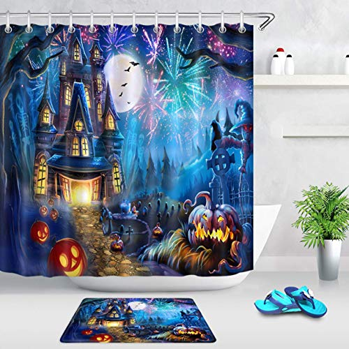 TQQQF Theme Haunted Tree Grave Pumpkin Lantern and Colorful Bathroom Shower Curtain Waterproof Bathroom Decoration 72x72inch Easy to Clean 7 Contains 12 Plastic Hooks