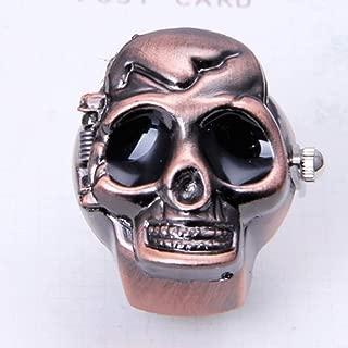 WGY Vintage Cooles Design Schädel Fall Flip Quarz Elastische Fingerring Uhr Unsex Einstellbare Zeitknopf Schmuck