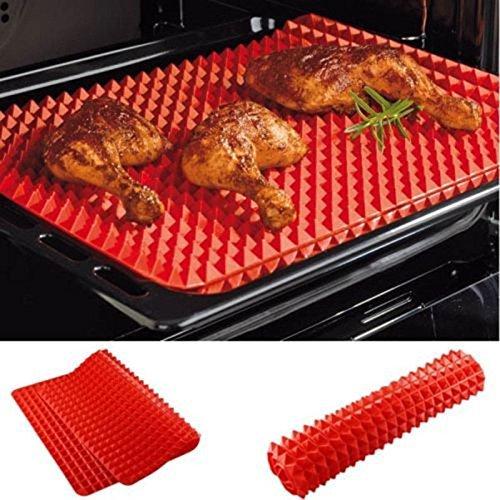 Lot de 2 Coque en silicone antiadhésif Tapis de cuisson cuisson saine, Rouge Pyramid Pan Bake Tapis de moule à feuilles de cuisson Tapis de four plaque de cuisson