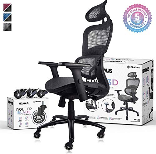 NOUHAUS Ergo3D Ergonomic Office Chair - Rolling Desk Chair with 4D Adjustable Armrest, 3D Lumbar Support and Extra Blade Wheels, Mesh Computer Chair, Gaming Chairs, Executive Swivel Chair (Black) black chair gaming