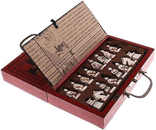 Juego de ajedrez juego de mesa de ajedrez para adultos niños |Juego de juego de ajedrez de madera plegable conjunto Vintage Terracotta Warrior Warrior Tarjeta de ajedrez Juegos tradicionales yqaae