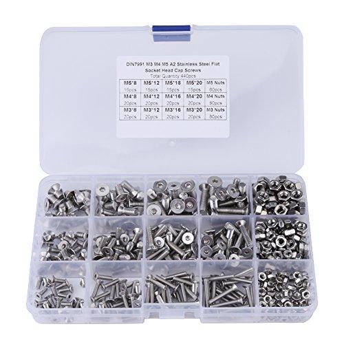 Paquete de 440 piezas M3 M4 M5 Tornillos hexagonales de cabeza plana y tuercas hexagonales para el kit de surtido de sujetadores de máquinas