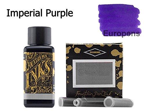 Diamine Imperial Füllfederhalter Tinten-Flasche mit Tintenpatronen, 30 ml, Violett, 6 Stück