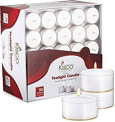 Kisco Genuine Tea Light Candles in Clear Holder Cups Bulk 150 Set. Long Burning 4.5hr, Unscented, for Mood, Dinners, Parities, Home, Decoration, Wedding, Crafts