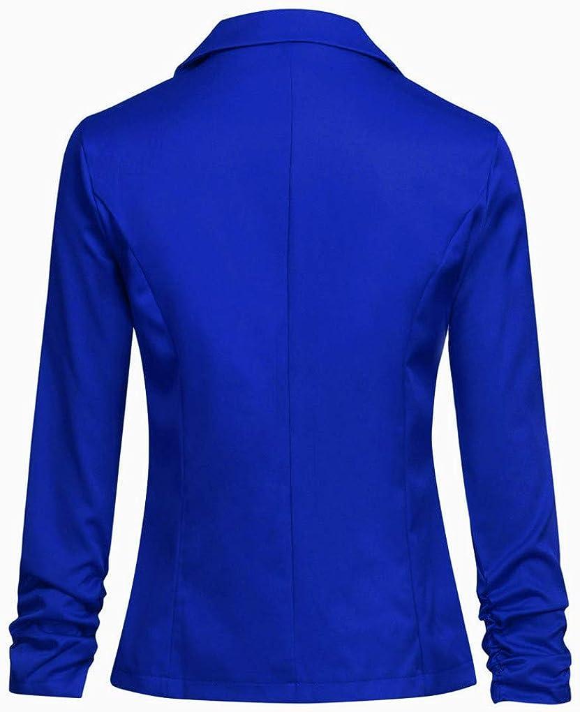 Dorical Blazer Damen Langärmliger Kurzer Taillierter Anzugjacke/Elegant Dünn Bolero Jacke Slim Fit EIN Knopf Tailliert Anzug Trenchcoat Business Mantel Valentinstag-Anzüge Blau