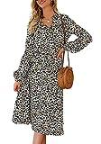 Edjude Vestido Mujer Estampado Leopardo Escote en V Manga Larga Media Longitud Ropa Casual Moda Una línea Talla S Blanco