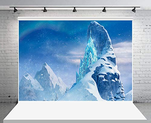 GESEN Winter Backdrop 10x7ft Snow Mountain Blue Crystal Castle Photography Background for FROZEN Themed Party Photo Studio Props LSGE1081