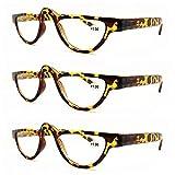 AMILLET 3 Pack Full Frame Small Cat Eye Reading Glasses for Women Men Half Moon Readers Red Tortoise +1.00