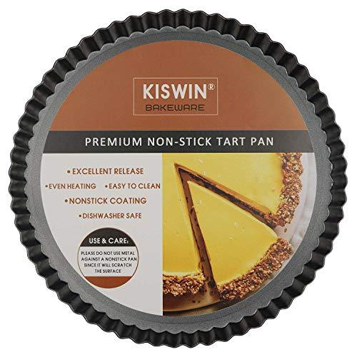 KISWIN Molde para tartas de 21,5 cm con parte inferior extraíble redonda antiadherente para quiche y molde para hornear de acero al carbono