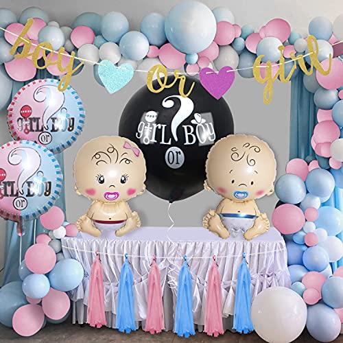 Globos de fiesta de género para Baby Shower Gender Reveal Party (54pcs), 36 pulgadas Palloncino, confeti rosa y azul, globos de papel de aluminio y pancartas para fiestas de bebé, para niños o niñas
