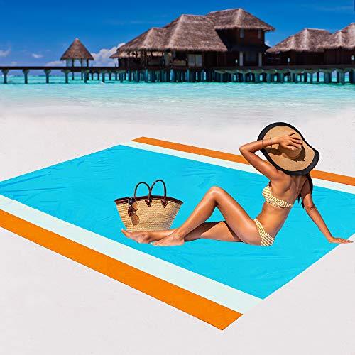WIWIGO Sand Free Beach Blanket Lightweight Waterproof Beach Mat, Outdoor Portable Picnic Mat for Travel, Camping, Hiking Compact Sand Proof Mat Quick Drying (Orange&Blue-2)