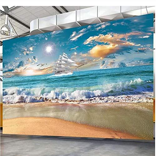 Seascape Canvas Zonsopgang muurschildering behang 3D patroon Home woonkamer slaapkamer kinderkamer club decoratie kunst afneembare sticker foto muursticker (B) 500 x (H) 350 cm.
