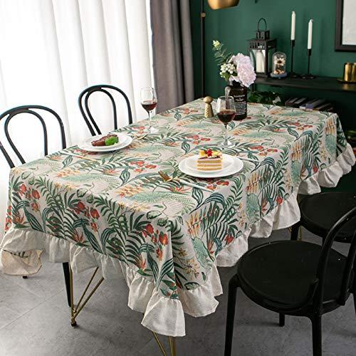Oukeep Mantel Nórdico De Algodón Y Lino con Plantas Verdes, Mantel con Volantes Retro Americano, Mantel Rectangular Estampado, Mantel Simple