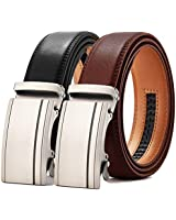 Mens belt, Leather Ratchet Belt Dress with Automatic Sliding Buckle 1 3/8'', Suit Belt with Gift Set (03 Classic Black&Brown Leather Belt, 28'' to 42'' Waist Adjustable)