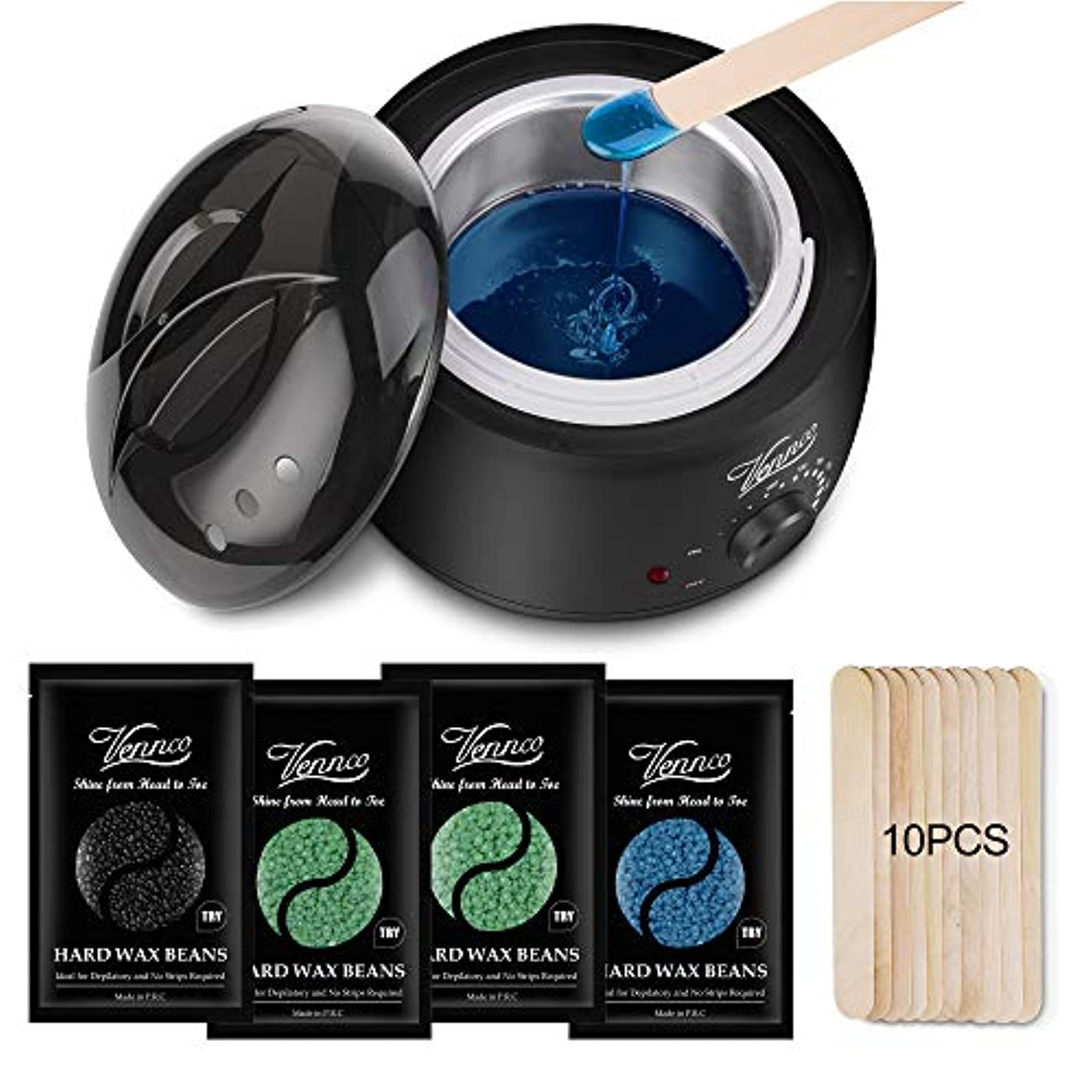 Wax Warmer Hair Removal Kit, Vennco Brazilian Bikini Home Waxing Kit Hair Depilatory Full Body Wax Kit with 4 Bags Hard Wax Beans & 10 Wax Applicator Spatulas