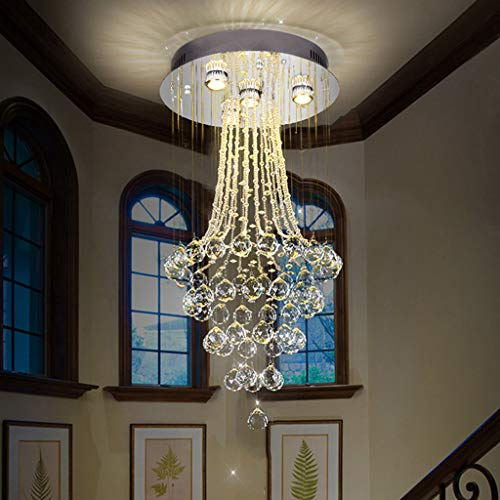 CRYGD Christal bol met elegante kroonluchter, plafondmontage, LED Light Fixture hanglamp voor Sala Sala met 3 W, D40 x H80 cm