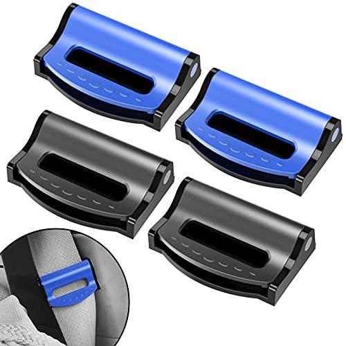 Zuzer 4pcs Clip da Cintura per Seggiolino Auto,Clip per Cinture di Sicurezza Nero Blu Fibbia Della Cintura di Sicurezza