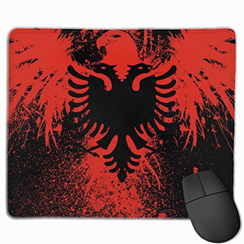 Mauspad Albanische Flagge des Eagle-Vogel-Rechteck-rutschfesten Spielgummis Mousepad Genähte Ränder Mauspad