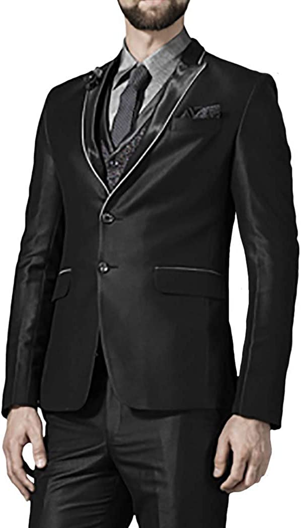 INMONARCH Mens Black 6 Pc Tuxedo Suit Prince Look Two Button TX1008