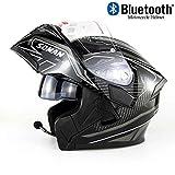 EDW Casco Integral de Motocicleta Bluetooth Integrado Modular Flip Up Cascos de Moto de Carreras anticolisión D.O.T Certificado Anti-Niebla Doble Espejo MP3 HD Llamada,S(55~56cm)