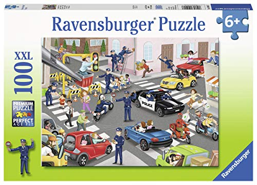Ravensburger 10401 Police Patrol, 100 Piece Puzzle for Kids, Every Piece is Unique, Pieces Fit Together Perfectly Multi, 19.5' x 14.25'