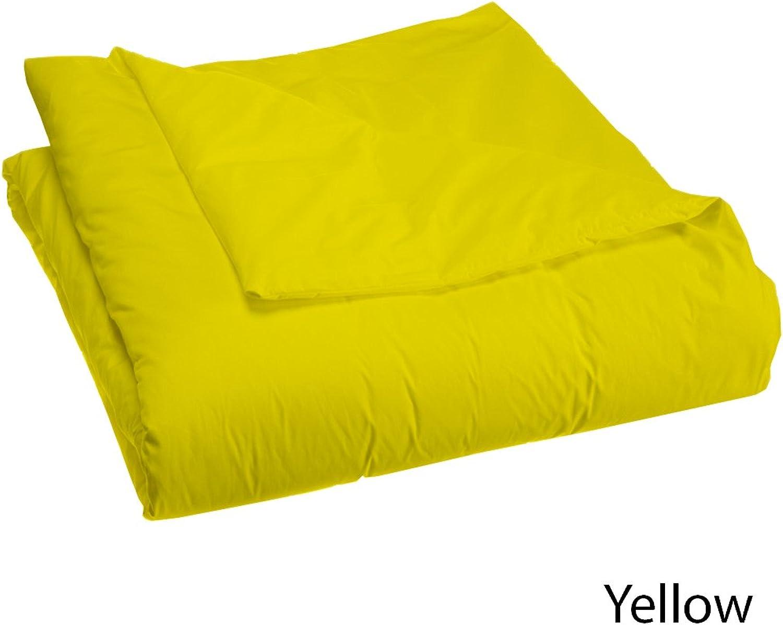 Dreamz étui Parure de lit super douce en coton égypcravaten 200fils cm2 1doudou (200g m2 en fibre) UK Double Jaune Massif, Parure de lit 100% coton 200fils Motif
