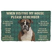 玄関マット 屋外 ボクサー犬の家のルールを覚えておいてください玄関マット新築祝いのギフトパーソナライズされたラグホームルームの装飾40x60cm