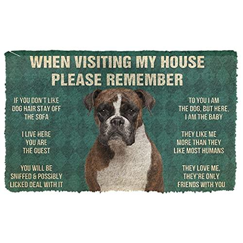 3D Please Remember Boxer Dog's House Rules Doormat Welcome Mat Heavy-Duty Front Door Mat External Entry Door Mat Entrance Carpet