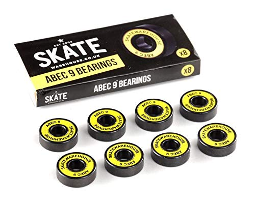 Skatewarehouse ABEC 9 Yellow x8 608 Fast and Smooth Premium Skateboard Bearings for Wheels - fits Skate board/stunt scooters/long board/roller skates/micro scooter/fidget spinner/inline skates/quad