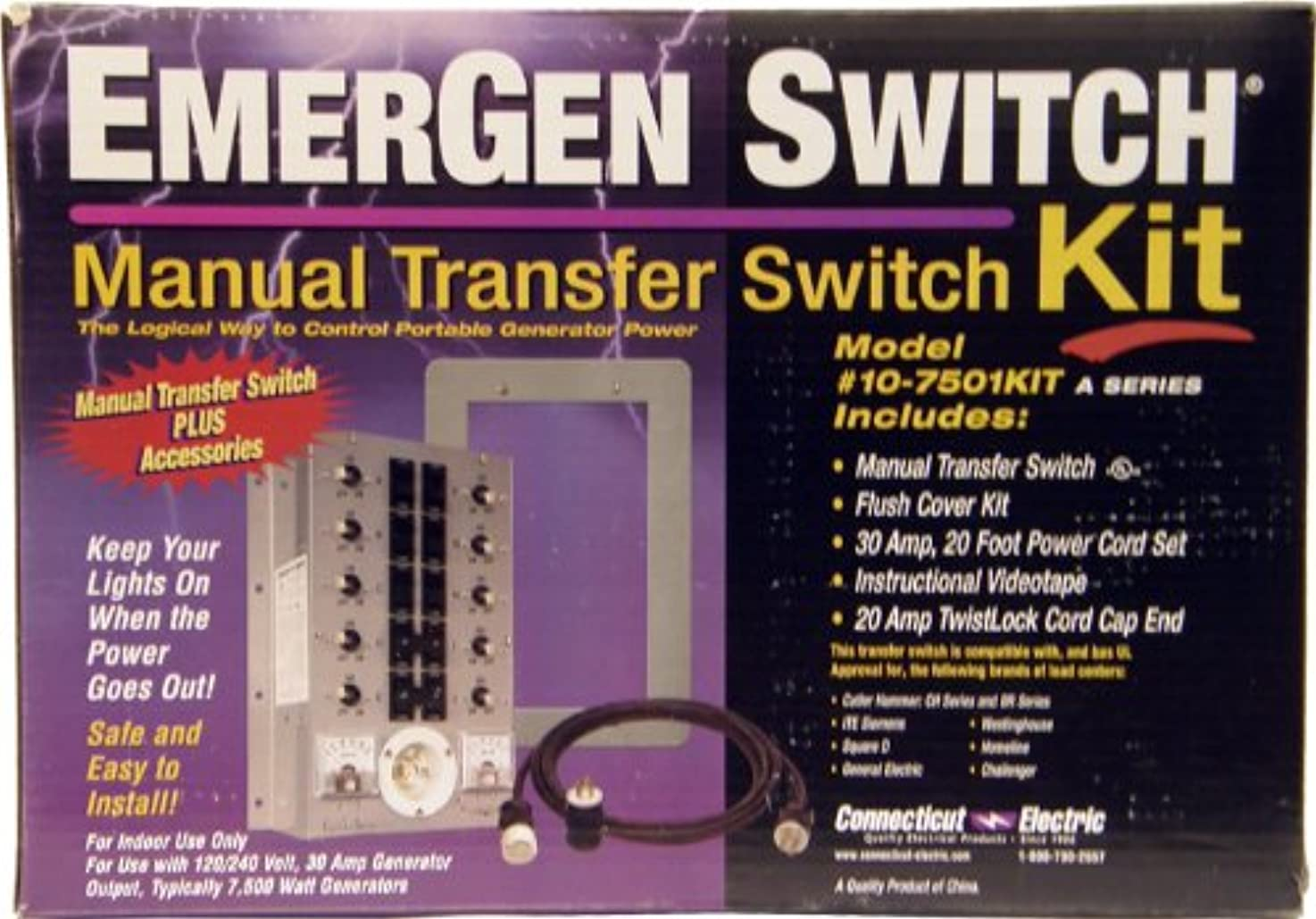 Connecticut Electric EGS107501AKIT Emergen Switch Kit, EGS107501A Switch, Video, Flush Cover and Power Cord