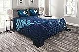ABAKUHAUS Fußball Tagesdecke Set, Zusammenfassung Ziel Muster, Set mit Kissenbezügen Weicher Stoff, für Doppelbetten 264 x 220 cm, Blau schwarz-weiß