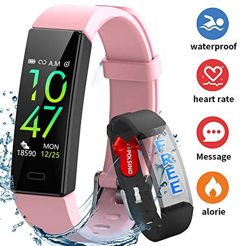 HOFIT Fitness Tracker,Orologio Braccialetto Smartwatch Activity Tracker Impermeabile IP68,Pressione Sanguigna Cardiofrequenzimetro,Contapassi SmartWatch Smartband per Uomo Donna (Rosa)