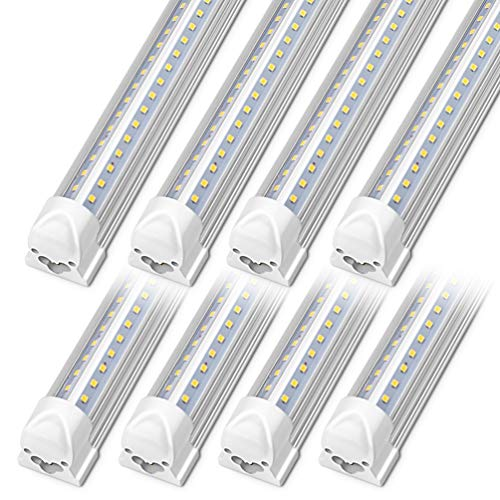 Kihung LED Shop Light 4ft, 40w 5200 Lumen 6000K (Super Bright White), V Shape T8 LED Tube Light, Clear Cover, Integrated 4 Foot Strip Light Fixture for Garage Warehouse Workshop Basement, 8-Pack