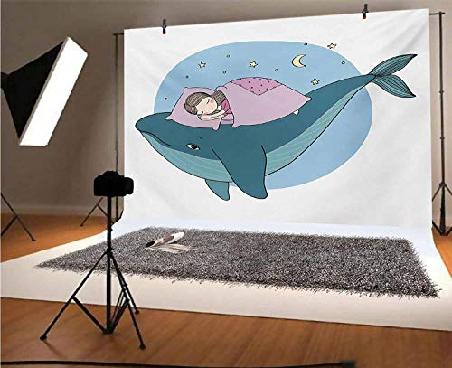 Whale 8x6 FT Vinyl Photography Backdrop,Hand Drawn Style Little Girl is Sleeping on a Whale Cozy Bed in The Night Sea Background for Photo Backdrop Baby Newborn Photo Studio Props